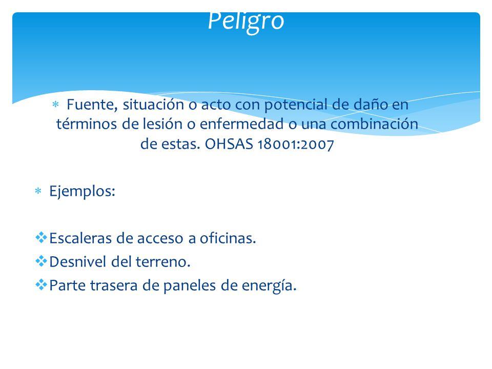 Peligro Fuente, situación o acto con potencial de daño en términos de lesión o enfermedad o una combinación de estas. OHSAS 18001:2007.