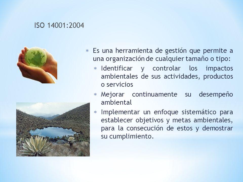ISO 14001:2004 Es una herramienta de gestión que permite a una organización de cualquier tamaño o tipo: