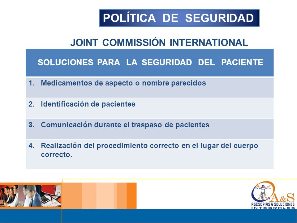 POLÍTICA DE SEGURIDAD JOINT COMMISSIÓN INTERNATIONAL