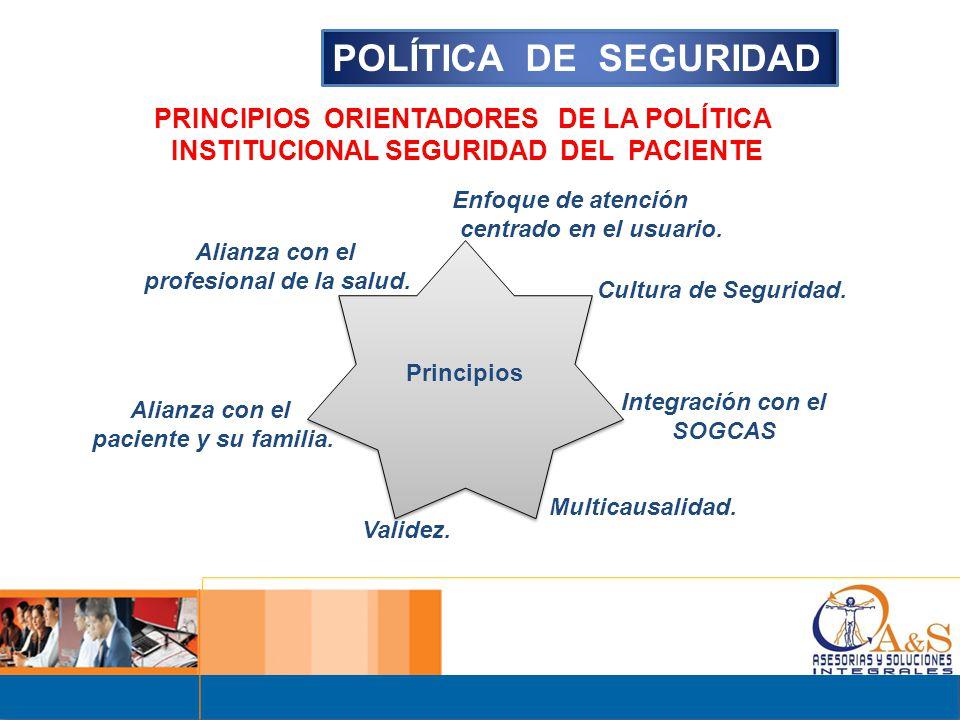 POLÍTICA DE SEGURIDAD PRINCIPIOS ORIENTADORES DE LA POLÍTICA
