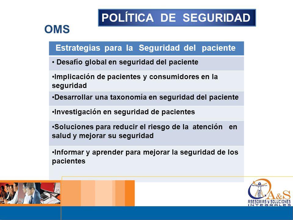 POLÍTICA DE SEGURIDAD OMS Estrategias para la Seguridad del paciente