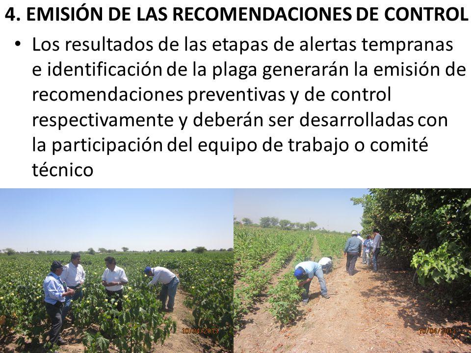 4. EMISIÓN DE LAS RECOMENDACIONES DE CONTROL