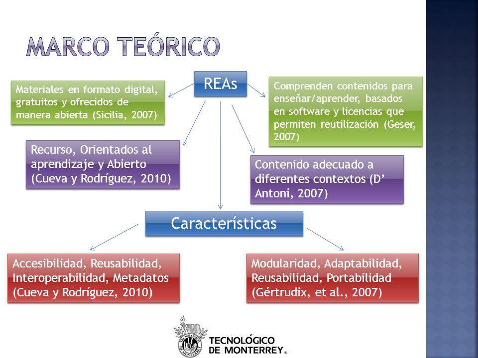 Marco teórico REAs Características