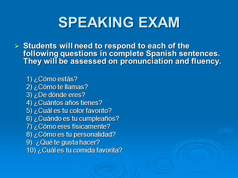 SPEAKING EXAM