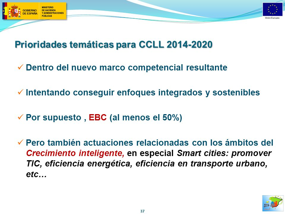 Prioridades temáticas para CCLL 2014-2020