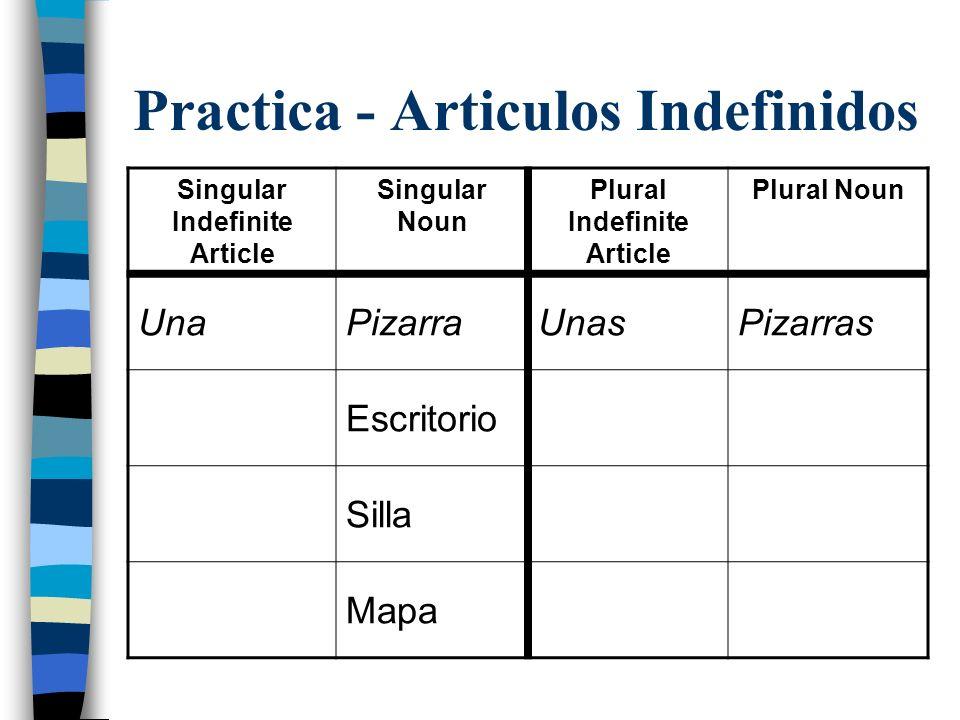 Practica - Articulos Indefinidos