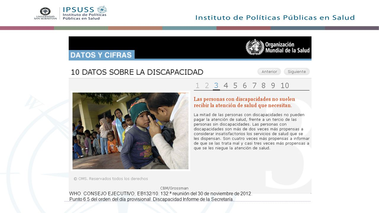 WHO. CONSEJO EJECUTIVO, EB132/10. 132