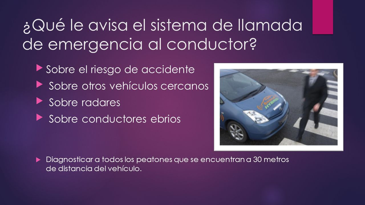 ¿Qué le avisa el sistema de llamada de emergencia al conductor
