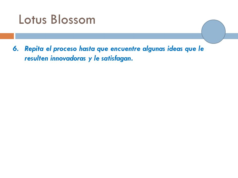 Lotus Blossom Repita el proceso hasta que encuentre algunas ideas que le resulten innovadoras y le satisfagan.
