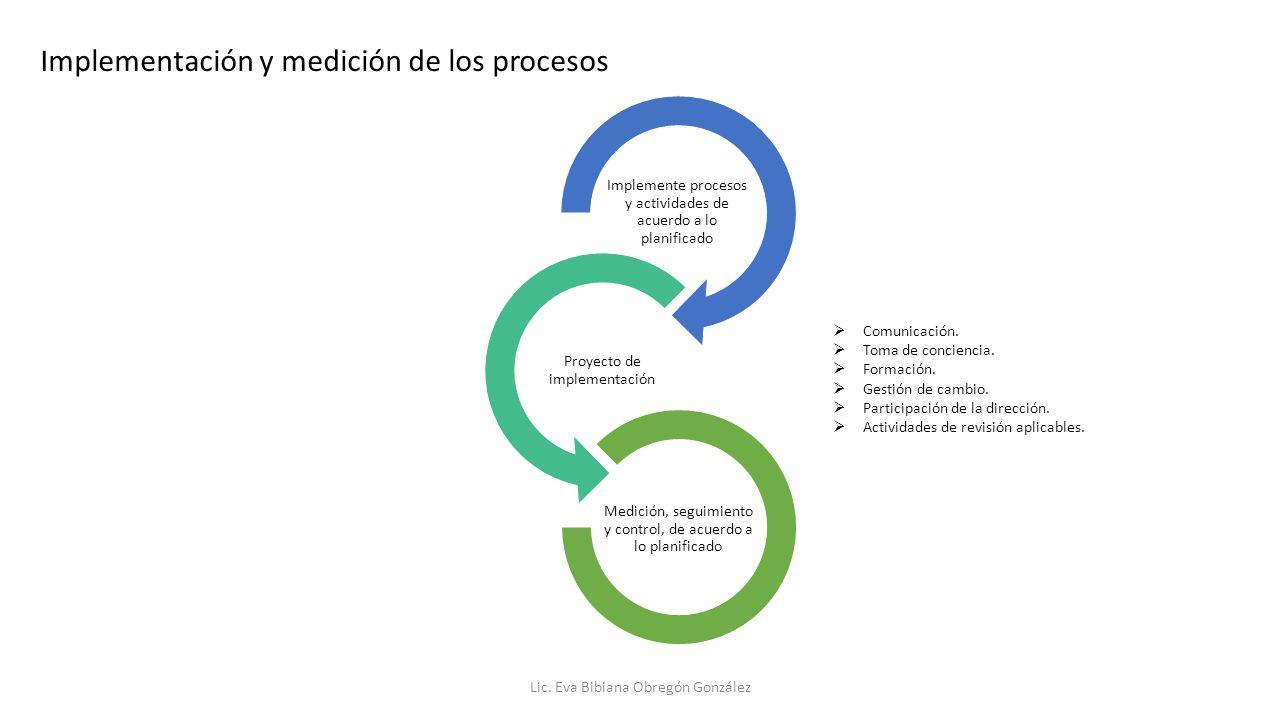 Implementación y medición de los procesos