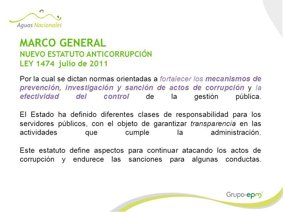 MARCO GENERAL NUEVO ESTATUTO ANTICORRUPCIÓN LEY 1474 julio de 2011