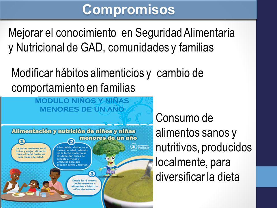 Compromisos Mejorar el conocimiento en Seguridad Alimentaria y Nutricional de GAD, comunidades y familias.