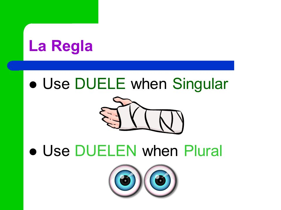 La Regla Use DUELE when Singular Use DUELEN when Plural