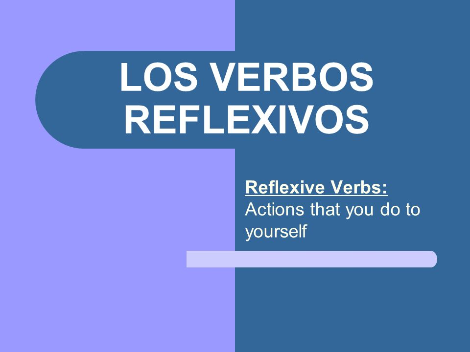Reflexive Verbs: Actions that you do to yourself