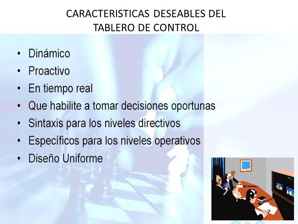 CARACTERISTICAS DESEABLES DEL TABLERO DE CONTROL