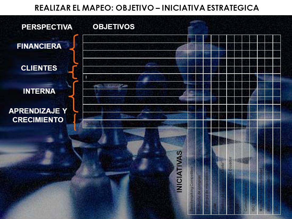 REALIZAR EL MAPEO: OBJETIVO – INICIATIVA ESTRATEGICA