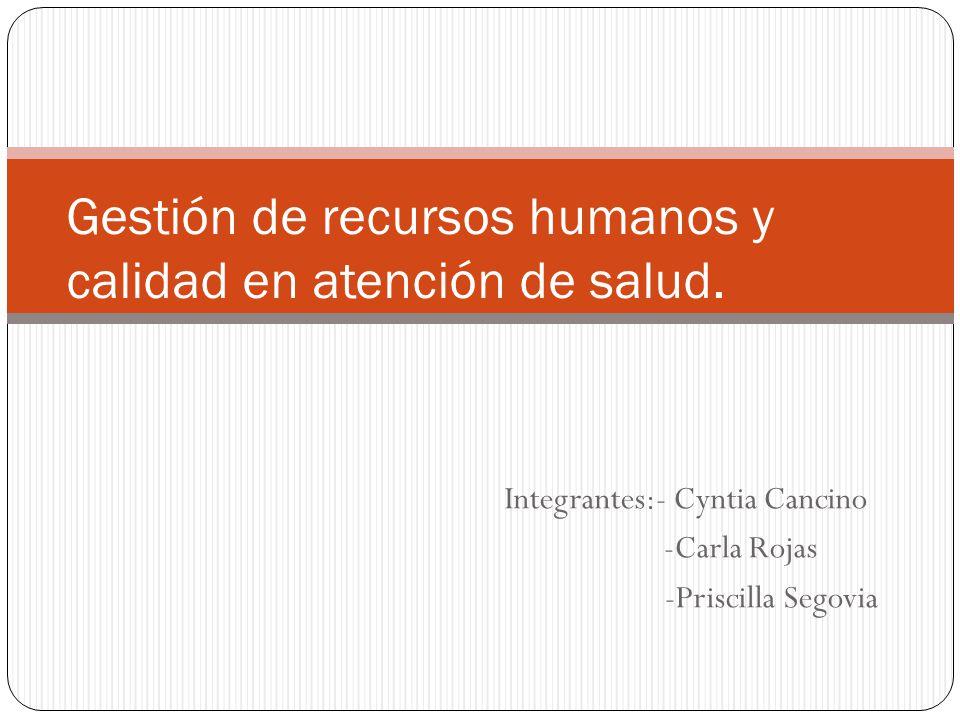 Gestión de recursos humanos y calidad en atención de salud.