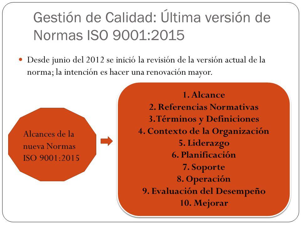 Gestión de Calidad: Última versión de Normas ISO 9001:2015