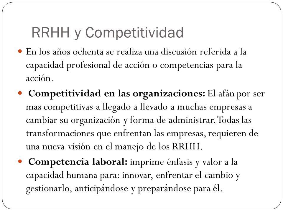 RRHH y Competitividad En los años ochenta se realiza una discusión referida a la capacidad profesional de acción o competencias para la acción.