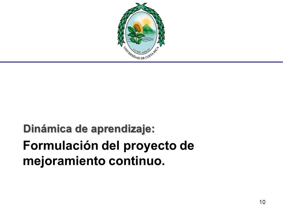 Formulación del proyecto de mejoramiento continuo.