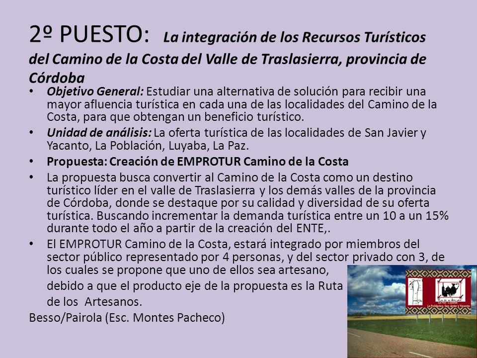 2º PUESTO: La integración de los Recursos Turísticos del Camino de la Costa del Valle de Traslasierra, provincia de Córdoba