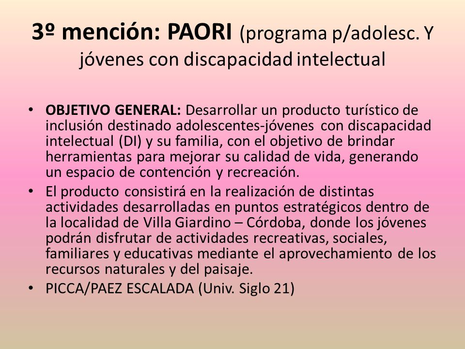 3º mención: PAORI (programa p/adolesc