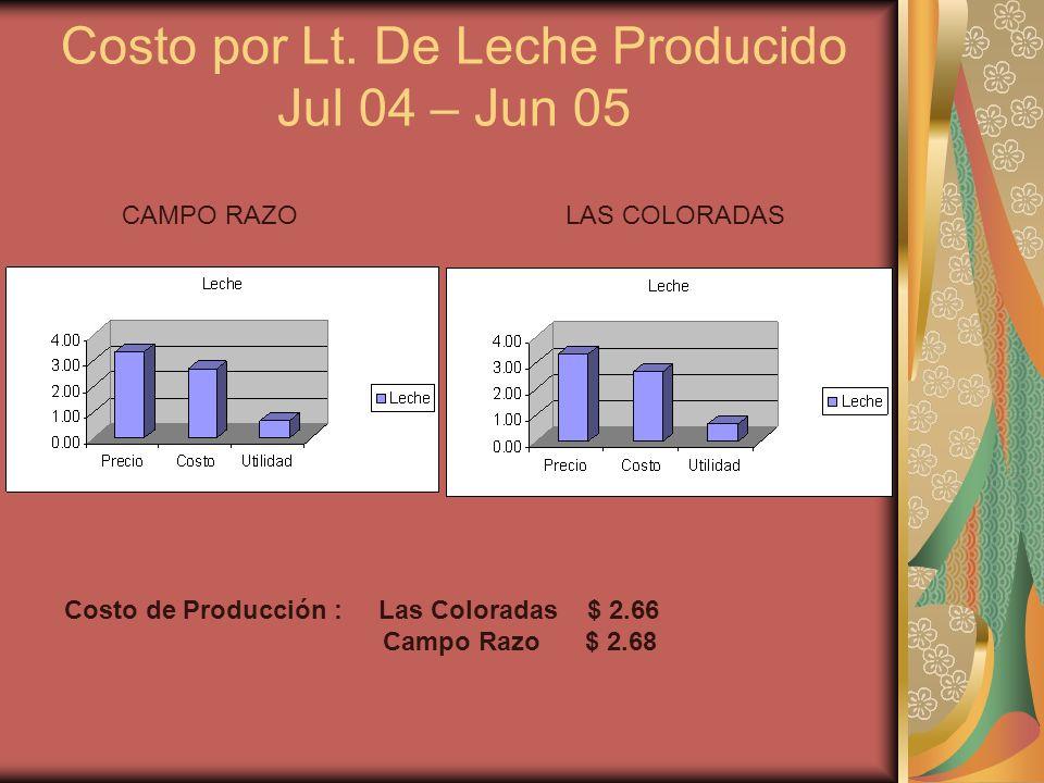 Costo por Lt. De Leche Producido Jul 04 – Jun 05