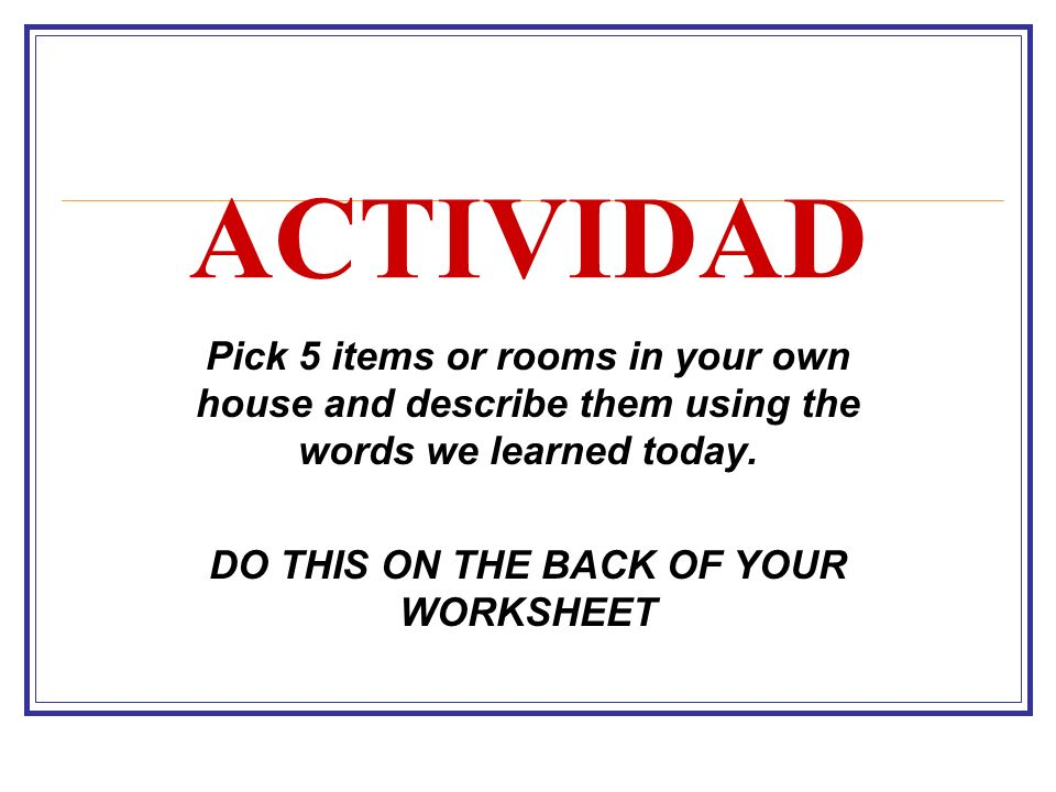 DO THIS ON THE BACK OF YOUR WORKSHEET