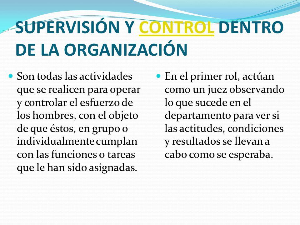 SUPERVISIÓN Y CONTROL DENTRO DE LA ORGANIZACIÓN