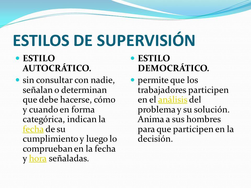 ESTILOS DE SUPERVISIÓN