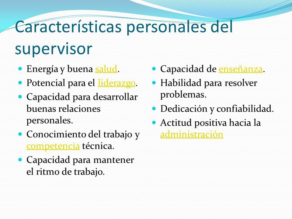 Características personales del supervisor