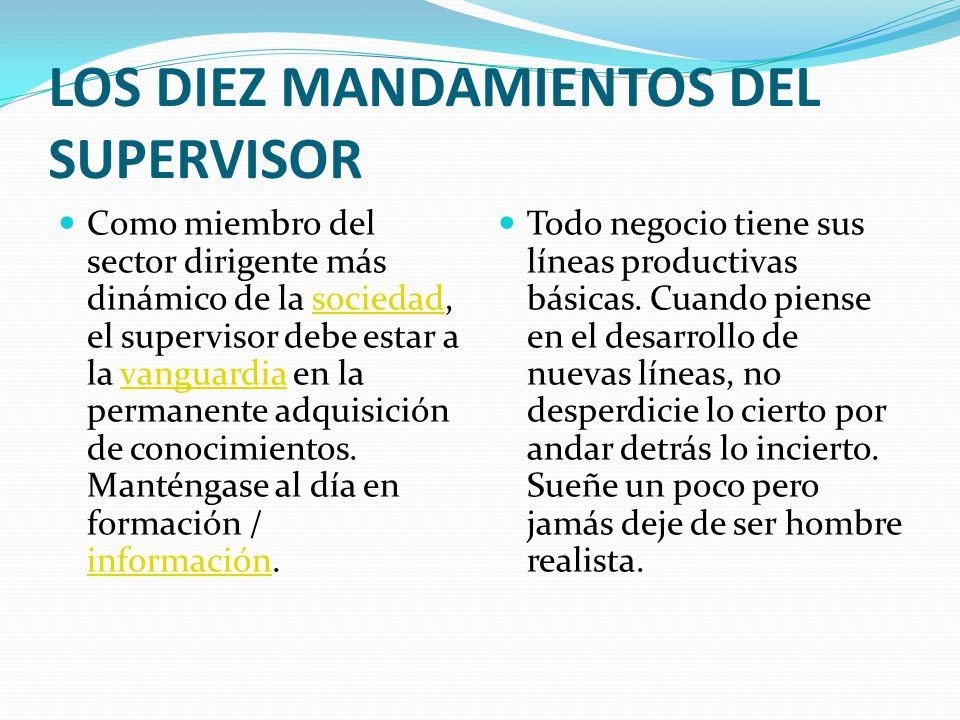 LOS DIEZ MANDAMIENTOS DEL SUPERVISOR