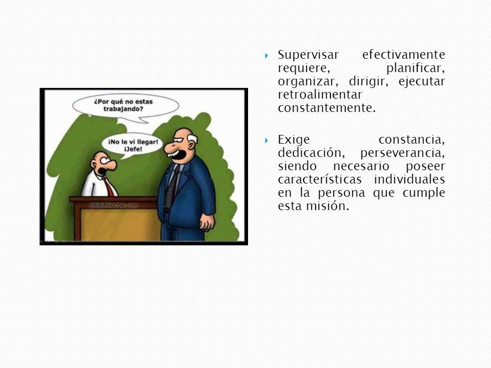 Supervisar efectivamente requiere, planificar, organizar, dirigir, ejecutar retroalimentar constantemente.