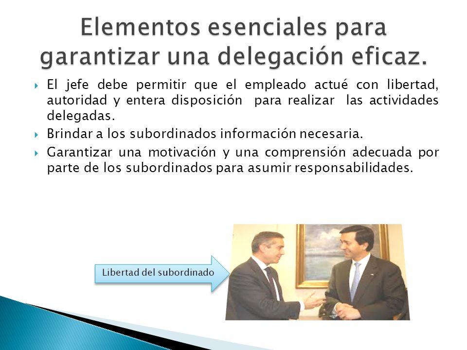 Elementos esenciales para garantizar una delegación eficaz.