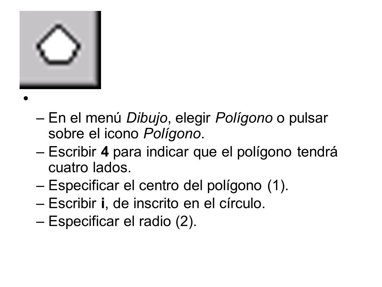 En el menú Dibujo, elegir Polígono o pulsar sobre el icono Polígono.