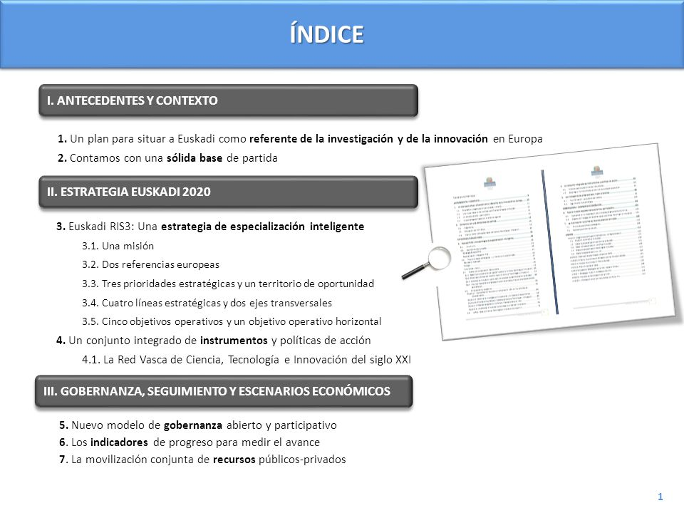 ÍNDICE I. ANTECEDENTES Y CONTEXTO II. ESTRATEGIA EUSKADI 2020