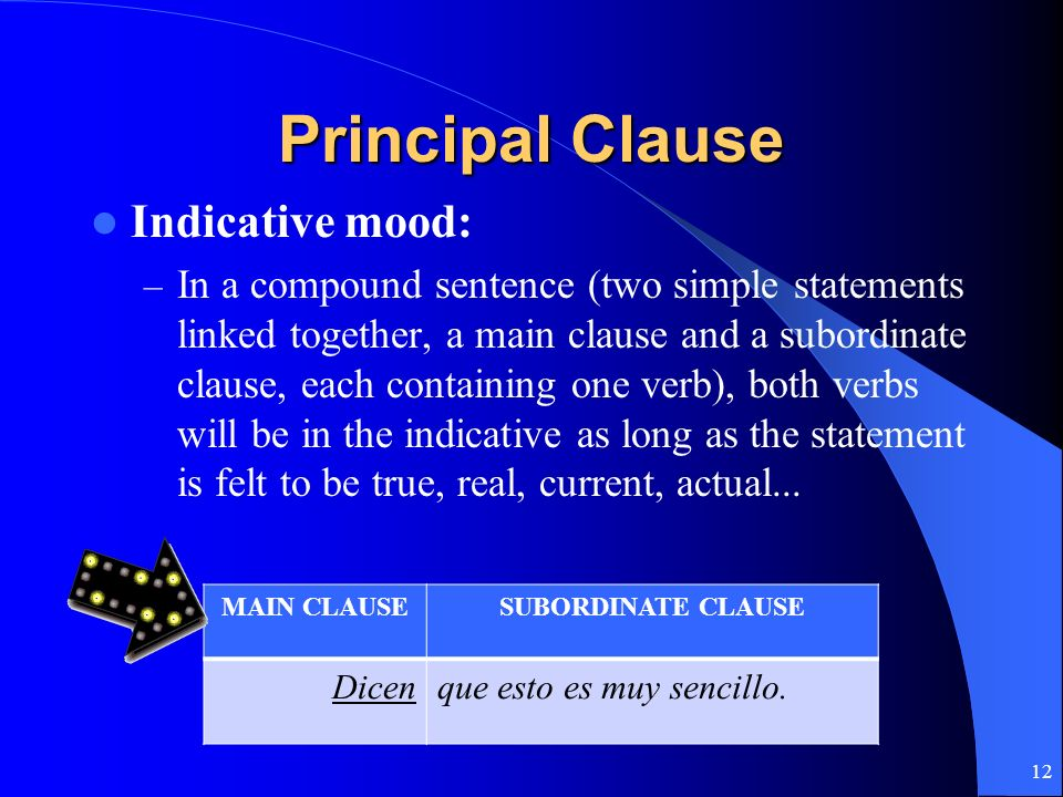 Principal Clause Indicative mood: