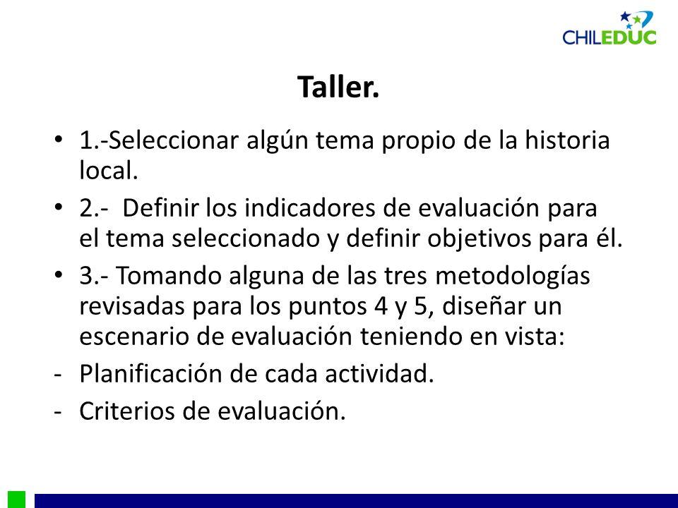 Taller. 1.-Seleccionar algún tema propio de la historia local.