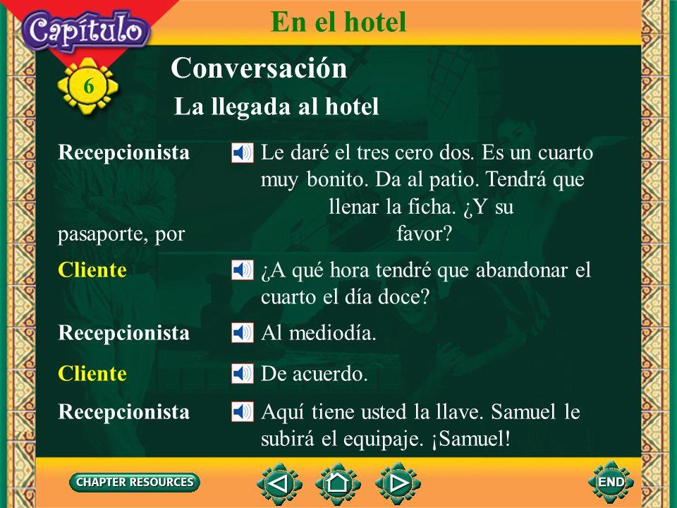 En el hotel Conversación La llegada al hotel