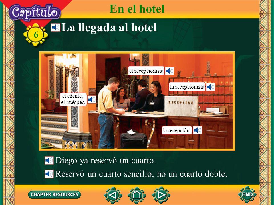 En el hotel La llegada al hotel Diego ya reservó un cuarto.