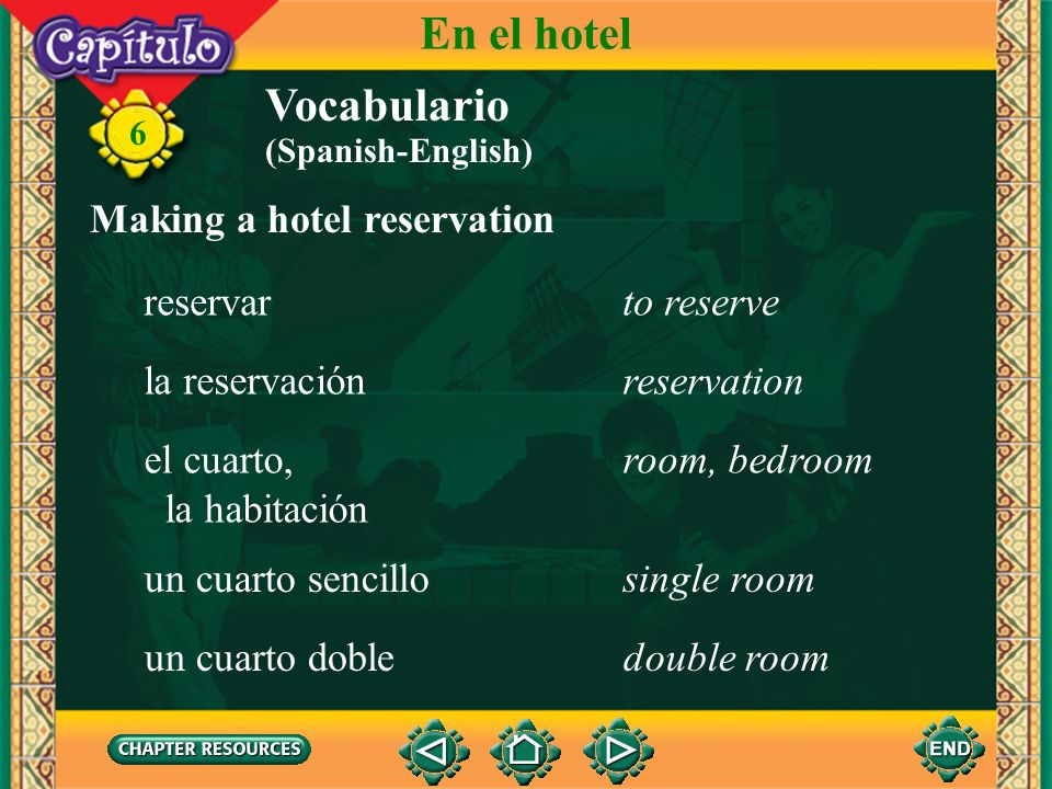En el hotel Vocabulario Making a hotel reservation reservar to reserve