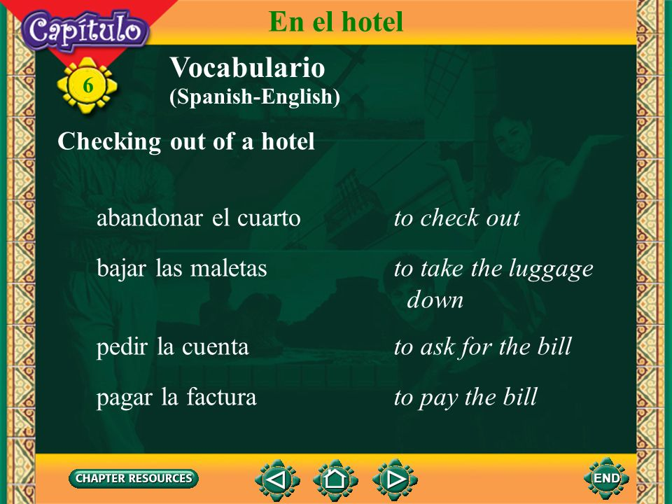 En el hotel Vocabulario Checking out of a hotel abandonar el cuarto