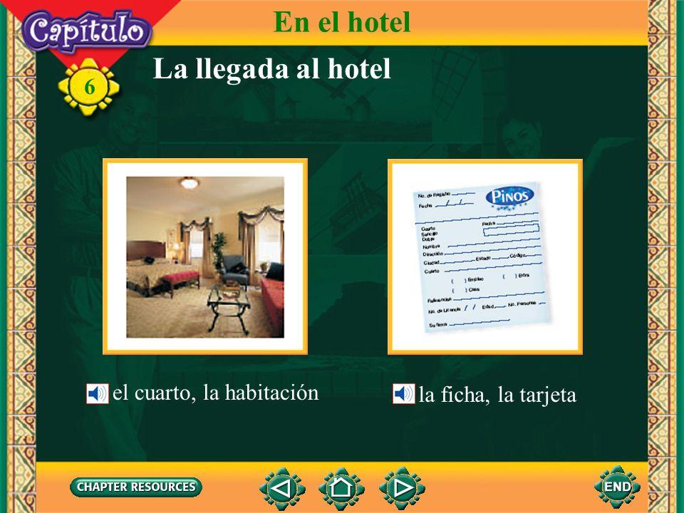 En el hotel La llegada al hotel la ficha, la tarjeta