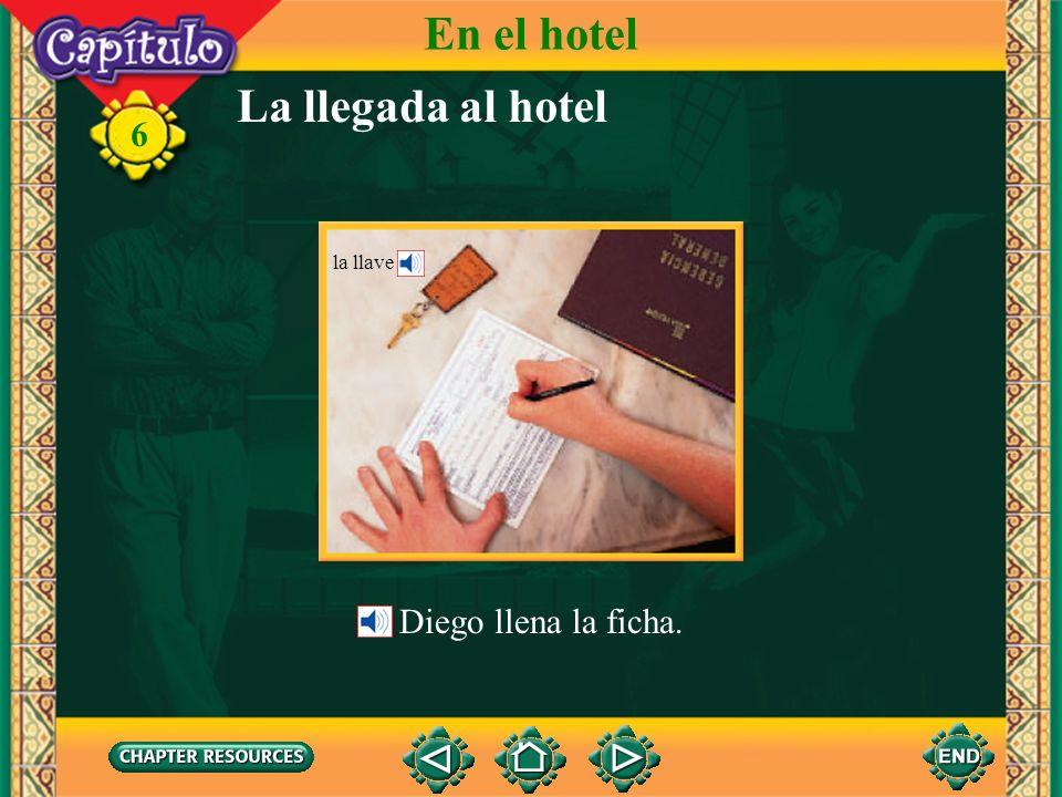 En el hotel La llegada al hotel la llave Diego llena la ficha.