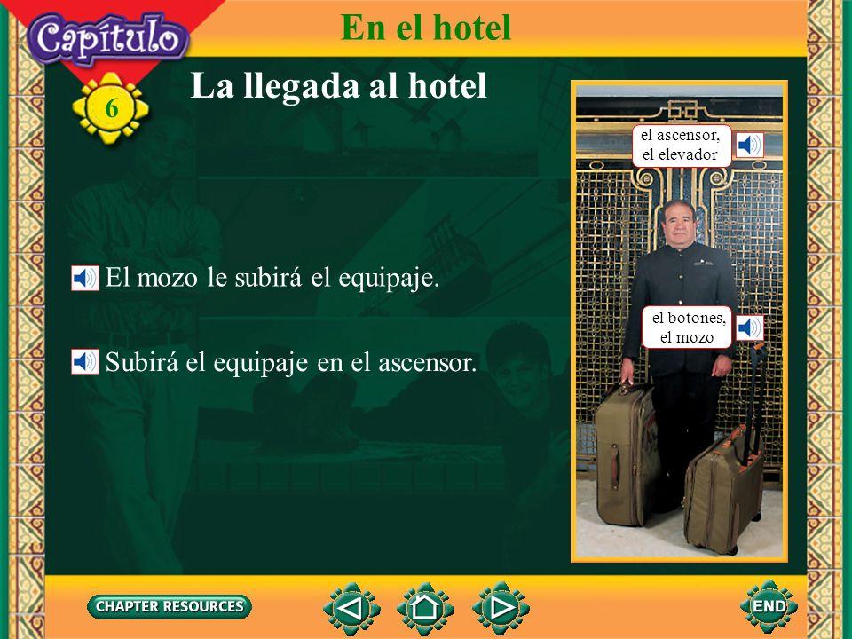 En el hotel La llegada al hotel El mozo le subirá el equipaje.