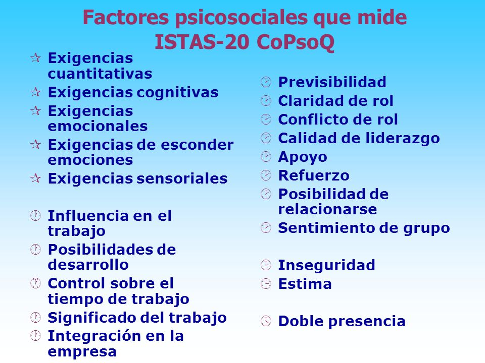 Factores psicosociales que mide ISTAS-20 CoPsoQ