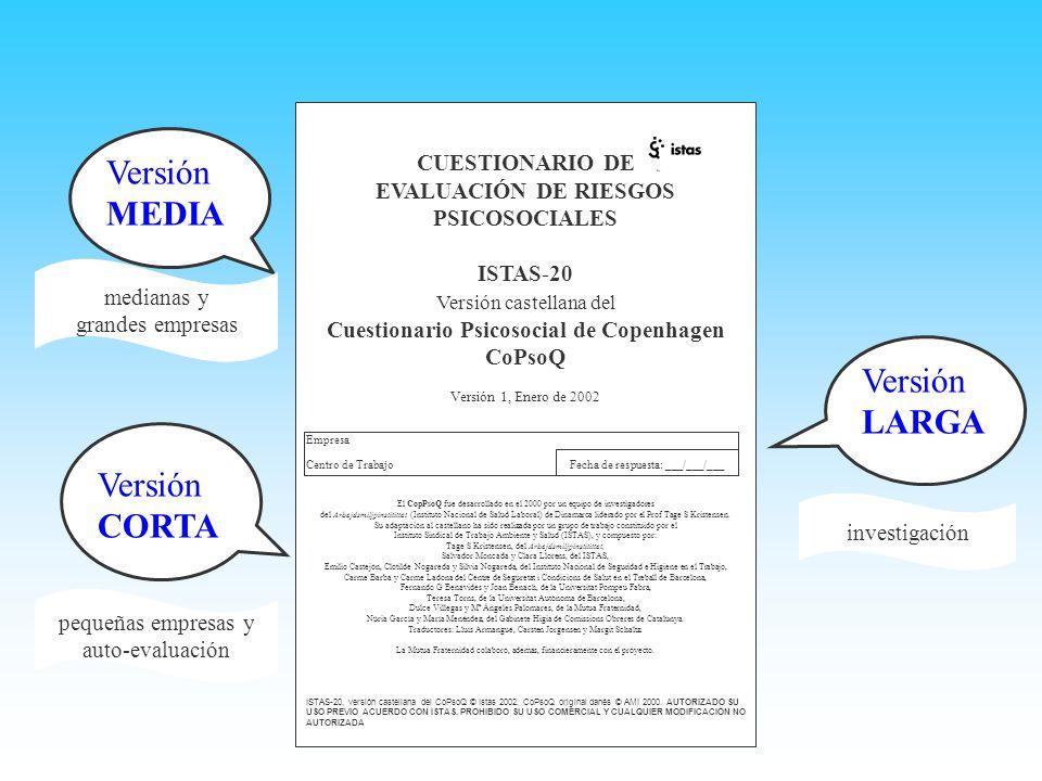 Versión MEDIA Versión LARGA Versión CORTA CUESTIONARIO DE