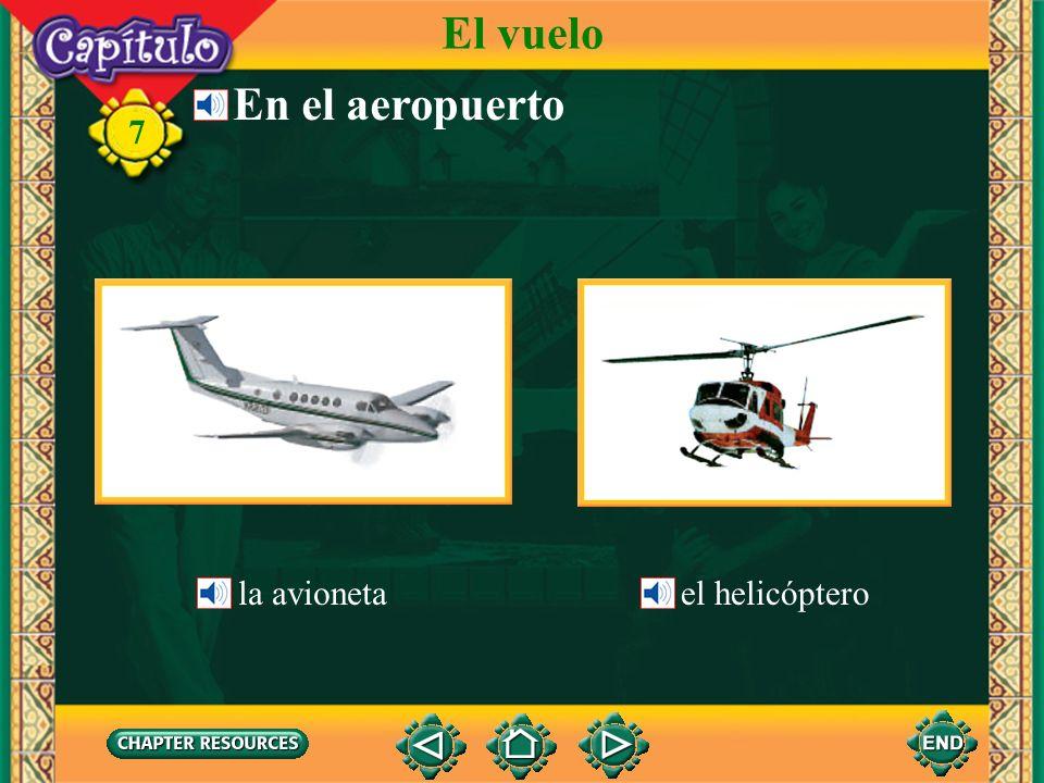 El vuelo En el aeropuerto la avioneta el helicóptero