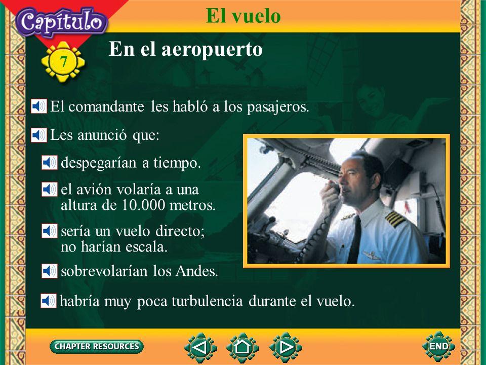 El vuelo En el aeropuerto El comandante les habló a los pasajeros.