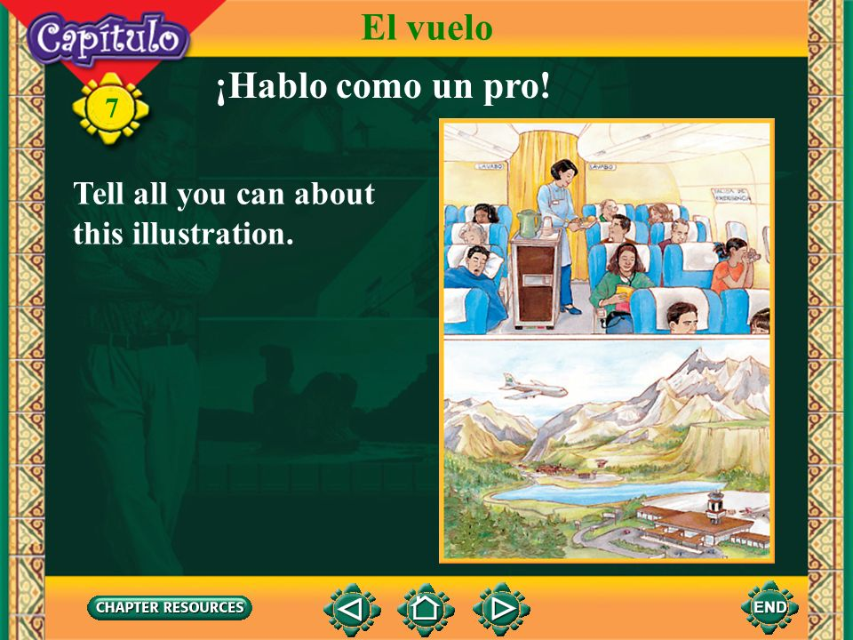 El vuelo ¡Hablo como un pro! Tell all you can about this illustration.